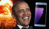Obama, Galaxy Note 7 ile dalga geçti