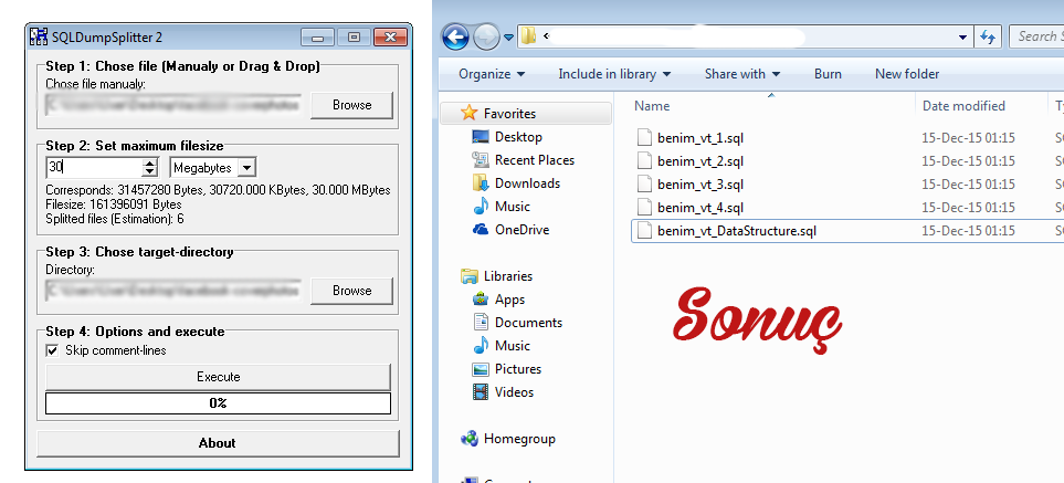 SQL dosya boyutunu küçültmek